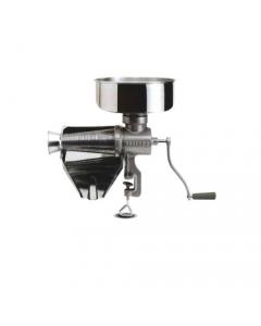 Reber 8502 N spremipomodoro manuale n. 5. Corpo in ghisa. Imbuto e sgocciolatoio in aciaio inox. Fissaggio al tavolo con morsetto.