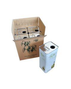 Scatola (contenitore) in cartone ondulato per il confezionamento di 4 taniche per contenere olio da 5 litri. Dimensioni: 31 x 25 x 33 (h) cm. Confezione da 10 pezzi.