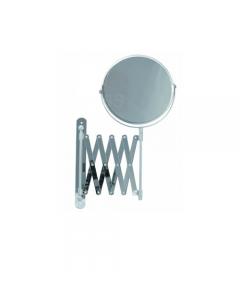 Specchio da parete ingranditore 3X struttura in acciaio cromato diametro specchio cm 16