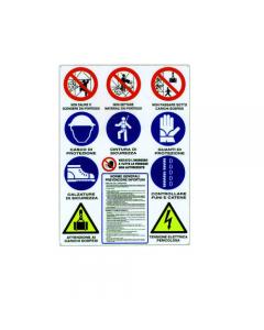 Stamplast cartello per cantiere con tutte le segnalazioni di divieto e di obbligo 12 simboli