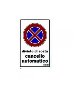 Stamplast cartello segnaletico cancello automatico in pvc formato mm 30 x 200