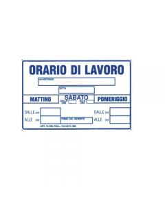 Stamplast cartello segnaletico orario di lavoro in pvc formato mm 300 x 200