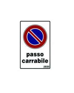 Stamplast cartello segnaletico passo carrabile in pvc formato mm 300 x 200