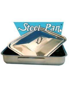 Steel Pan coperchio bombato per teglia rettangolare con manico in acciaio inox in dimensioni cm 25 x 19 cm 30 x 22 cm 35 x 26 cm 40 x 28