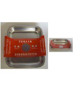 Steel Pan teglia quadra antigraffio in acciaio inox 18/10 di dimensioni cm 32 x 32 e cm 36 x 36