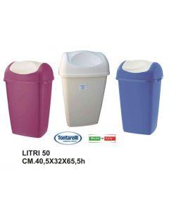 Tontarelli Grace pattumiera per rifiuti con coperchio basculante. Capacità pattumiera 50 litri. Disponibile in colore viola, crema, blu.