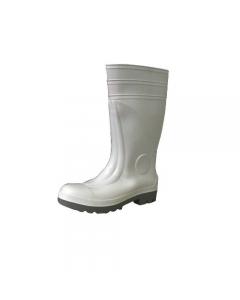 Stivali di sicurezza in pvc al ginocchio colore bianco con puntale in acciaio per utilizzo nell'industria alimentare