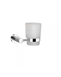 Supporto con bicchiere in vetro opaco da bagno in acciaio cromato cm 12 x 7 x 9,5
