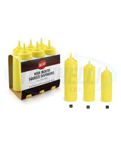 Set di 6 dispenser per aggiungere ketchup (colore contenitroe rosso) o maionese (colore contenitore giallo) prodotto da Tablecraft. I set sono disponibili in 3 varianti: 236 ml, 354 ml, 709 ml. Ideale per rosticcerie, pizzerie, locali in cui si servono ke
