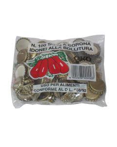 Tappo a corona dorè diametro 2,6 cm per uso per alimenti confezione da 100 pezzi