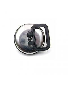 Tappo per piletta con maniglia in gomma nera con placca inox diametro mm 52