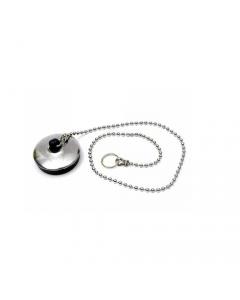 Tappo per piletta in gomma nera con placca inox completo di catena a perline