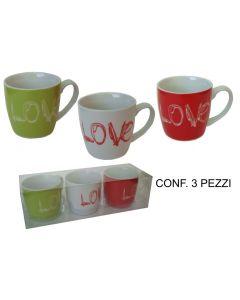 Tazza lover mug set 3 pezzi assortiti in pvc