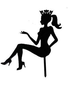 Topper torta sagoma decorativa donna seduta corona colore nero cake design compleanno cm 23 x 23 età personalizzabile