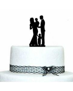 Topper torta festa compleanno sagoma famiglia cm 23 x 23