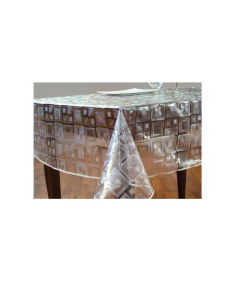 Tovagliato per tavola cucina ristorante esterni Cristal. Inciso con carta, in pvc trasparente stampato. Altezza cm 140 lunghezza; rotolo 30 metri.