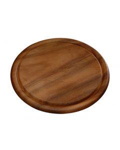 Vassoio da portata tagliere tondo piatto per carne in legno di acacia diametro cm 30