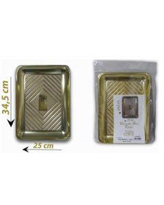 Vassoio dorato colore oro rettangolare per servire dolci torte pandoro panettone. Vassoio disponibile nelle dimensioni cm 23,5 x 16; cm 34,5 x 25; cm 37,5 x 28.