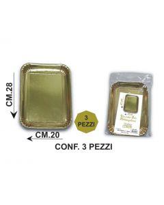 Vassoio rettangolare colore oro dorato per servire dolci, torte, pandoro, panettone. Vassoio disponibile nelle dimensioni cm 28 x 20 e cm 33 x 23.