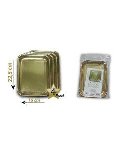 Vassoio rettangolare oro dorato per servire torte dolci pandoro panettone