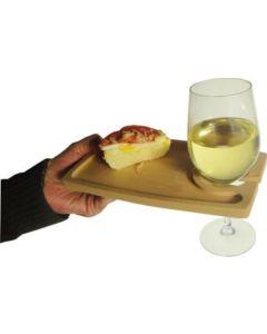 vassoio tagliere in legno con porta bicchiere cm 23 x 14 x 1 per aperitivo buffet